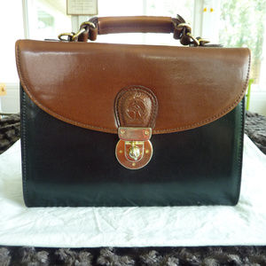 Brown and black satchel handbag
